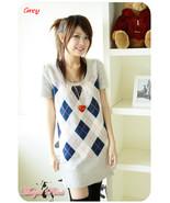 Gray & Blue Argyle Sweater Dress - $18.00