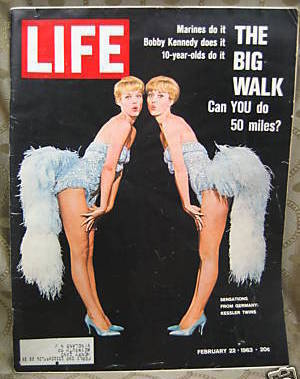 Primary image for Life Magazine February 22, 1963 Kessler Twins Cover