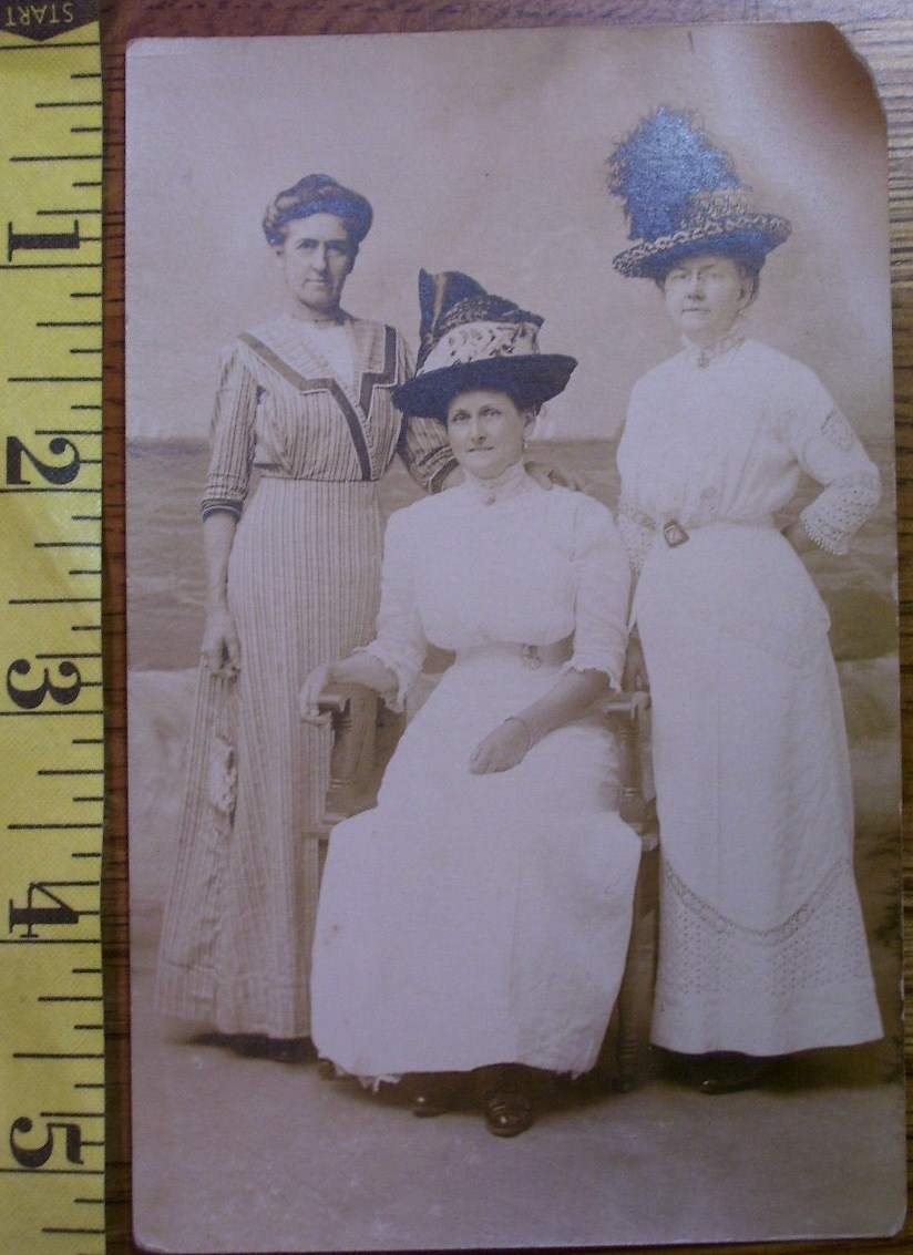 Primary image for Three Ladies in Studio #1 Hats Photo Post Card 1890`s!