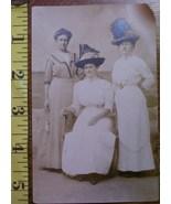 Three Ladies in Studio #1 Hats Photo Post Card 1890`s! - $3.00