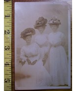 Three Ladies in Studio #2 Hats Photo Post Card 1890`s! - $3.00
