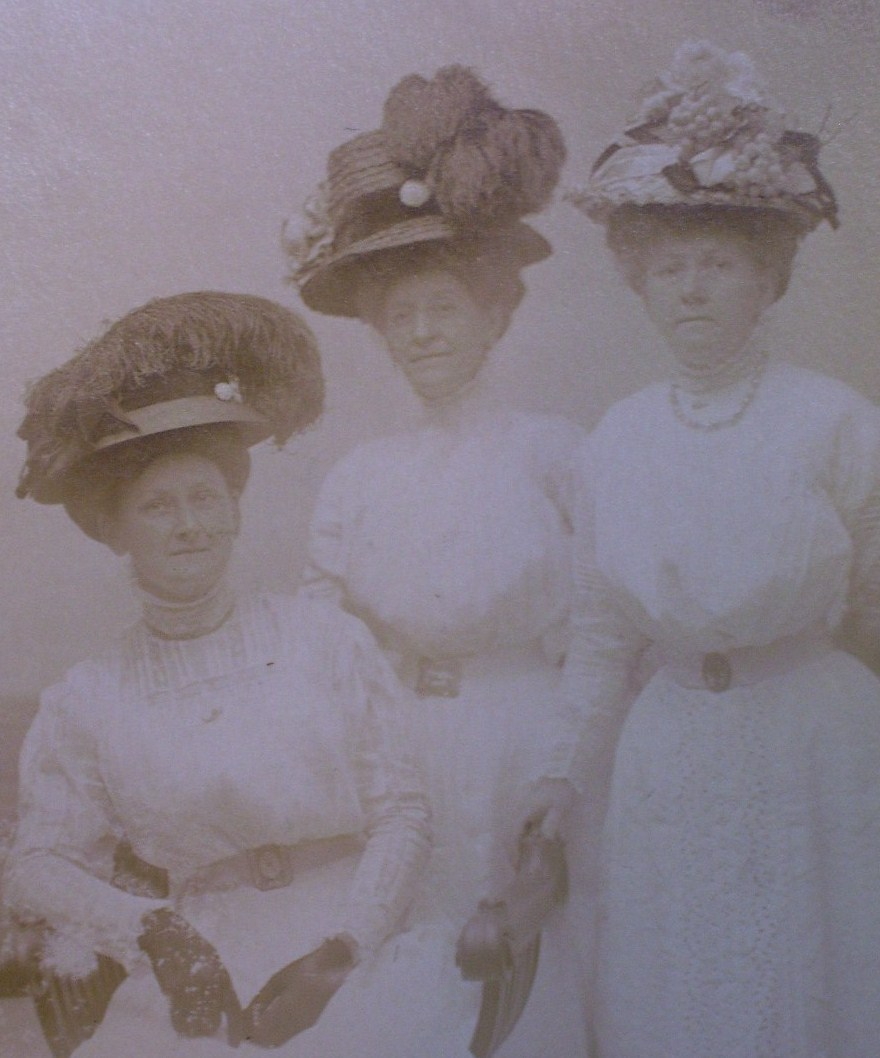 Three Ladies in Studio #2 Hats Photo Post Card 1890`s!