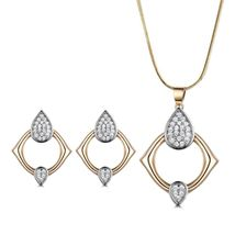 Passionate Women Sapphire Crystal Two Gold Tone Earrings Pendant Necklace Set image 6