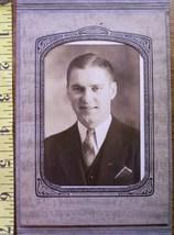 Cabinet Card Handsome Man Folding Frame Dated 1938! - $4.00