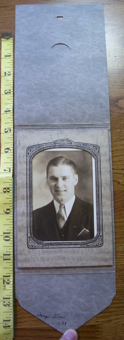 Cabinet Card Handsome Man Folding Frame Dated 1938!