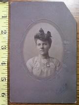 Cabinet Card Beauty Oval Style Nice Dress! c.1890-1910 - $3.60