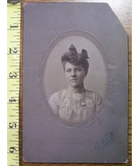 Cabinet Card Beauty Oval Style Nice Dress! c.1890-1910 - $3.00