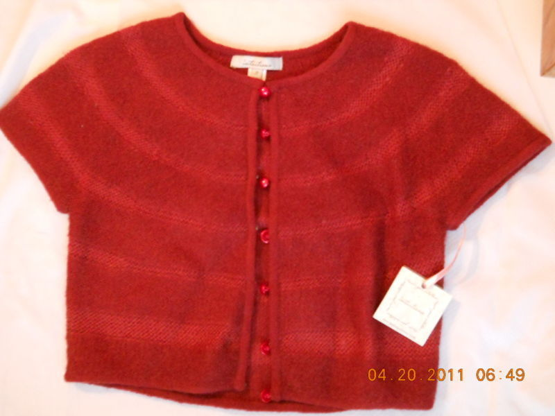 intuitions MOHAIR Royal Ruby Wool Spandex Sweater Jacket Top S Pearl Buttons NEW