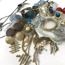 Vtg Costume Jewelry Lot Boho MOD Mixed Materials 20+ pcs blues retro metal - $29.69
