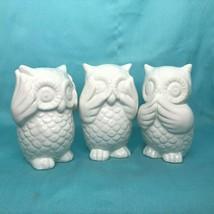 "Set of 3 Ceramic Owls ""See, Hear, Speak, No Evil"" In Original Box - $29.02"