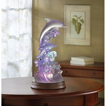 Dolphins on Waves Figurine Rainbow Color Changing LED Light - $36.58