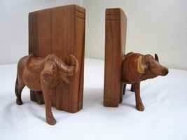 Vintage Ox BOOKENDS High Quality Wood OXEN Cattle Bullock Book Ends  - $59.39