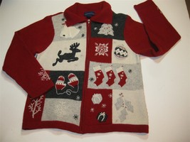 Ugly Christmas Sweater Cardigan Zipper Classy XL  - $26.00