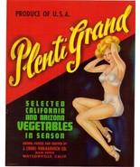 "Vintage ""Plenti Grand"" Produce Label - $12.00"