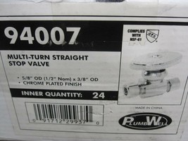 """2 Plumb Well 94007 Straight Stop Valve 5/8"""" OD x 3/8"""" OD Chrome Plated New image 2"""