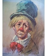 Leighton Jones Clown With The Top Hat Painting Lithograph Plaque - $39.95