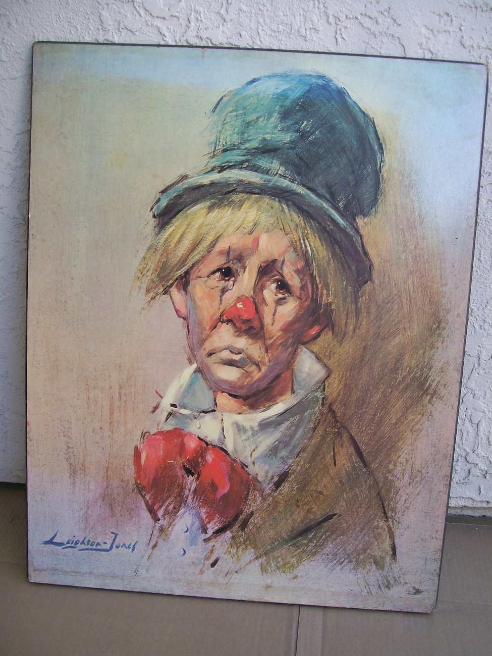 Leighton Jones Clown With The Top Hat Painting Lithograph Plaque