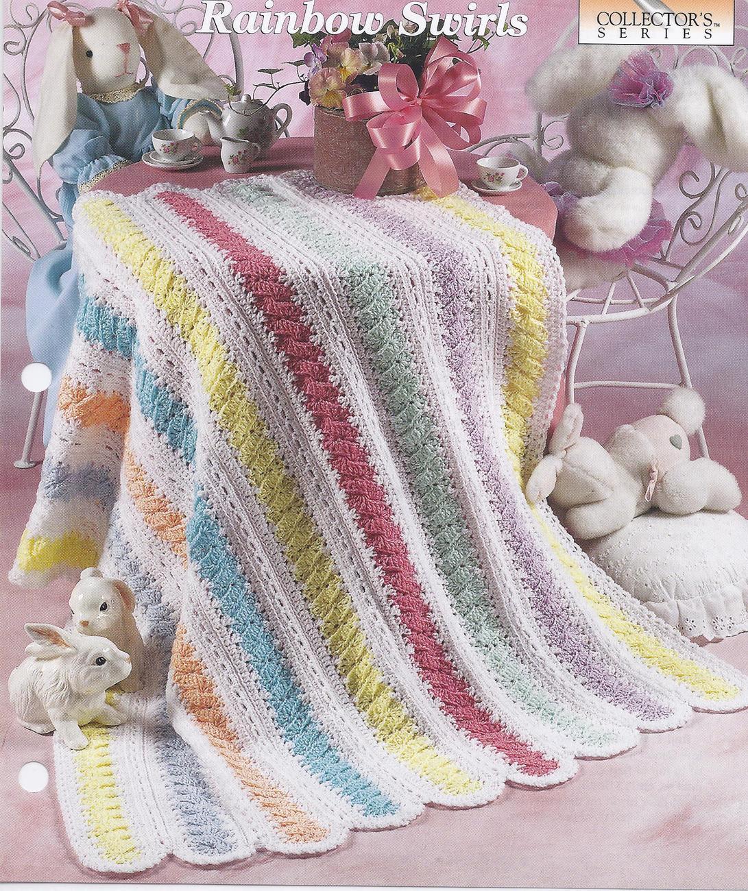 Free Swirl Heart Crochet Pattern : Rainbow Swirls Baby Afghan Crochet Pattern - Baby & Children