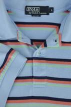 Polo Ralph Lauren Men's Blue & Orange Striped Cotton Casual Polo Shirt L Large - $22.94