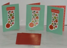 Hallmark XZH 593 4 Stocking Red Green Ornaments Christmas Card Package 3 image 1