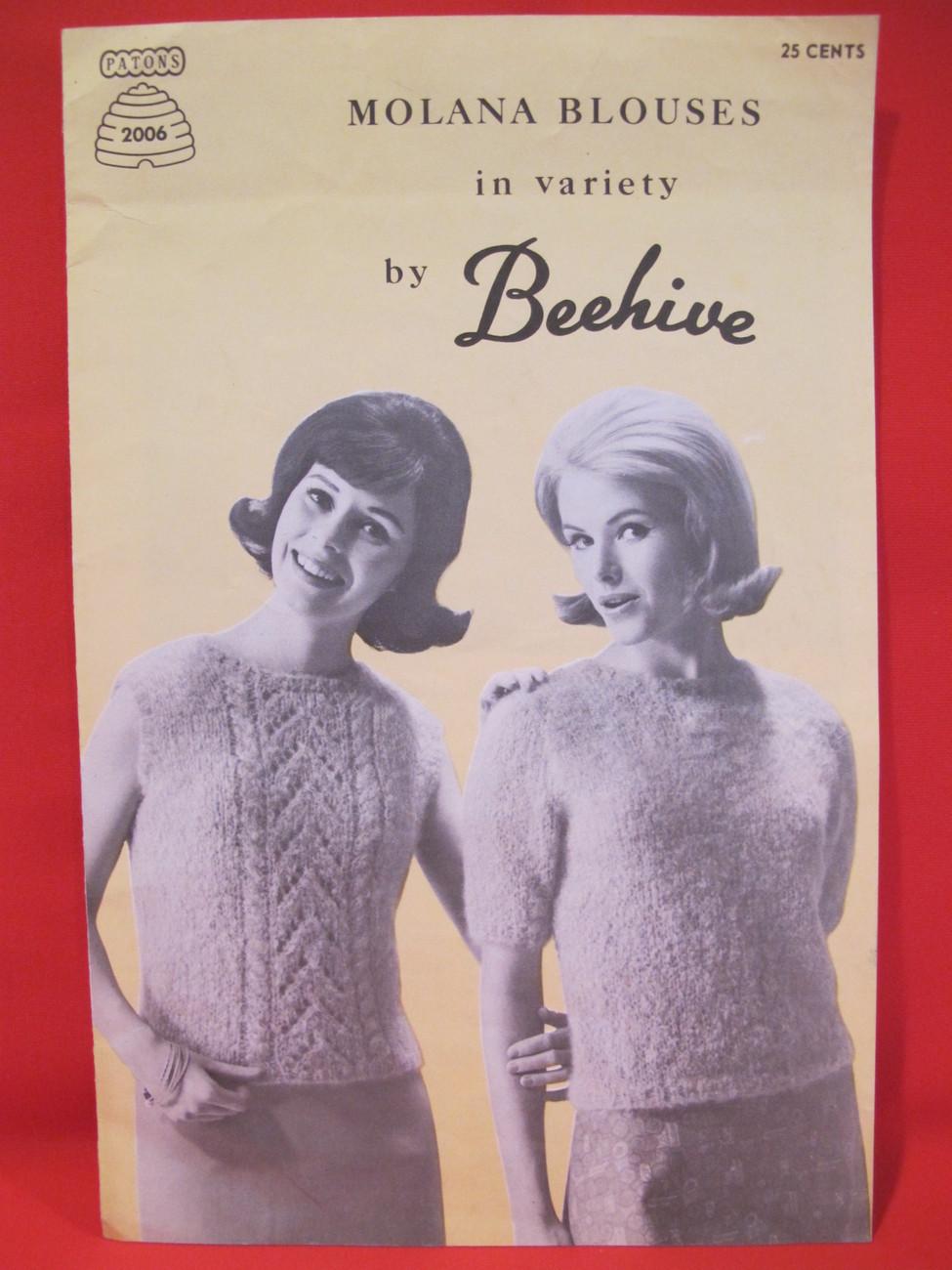 Vintage Molana Blouses Knitting Patterns LADYS Sweaters 12 - 18 Retro
