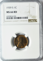 1939 S 1c Lincoln Wheat Cent NGC MS 66 RD Beautiful Uncirculated Coin  - $35.63