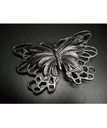 Butterfly Belt Buckle Steel Colored Metal 4 1/2 by 3 Inch Size Detailed Shape - $8.99