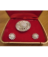 Vintage Rhinestone Brooch with Matching Clip Earrings - $60.00