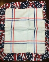 """Zweigart Patriotic Pillow Sham 18 Count Cross Stitch 13.5"""" x 13.5"""" Pre-finished  - $19.95"""