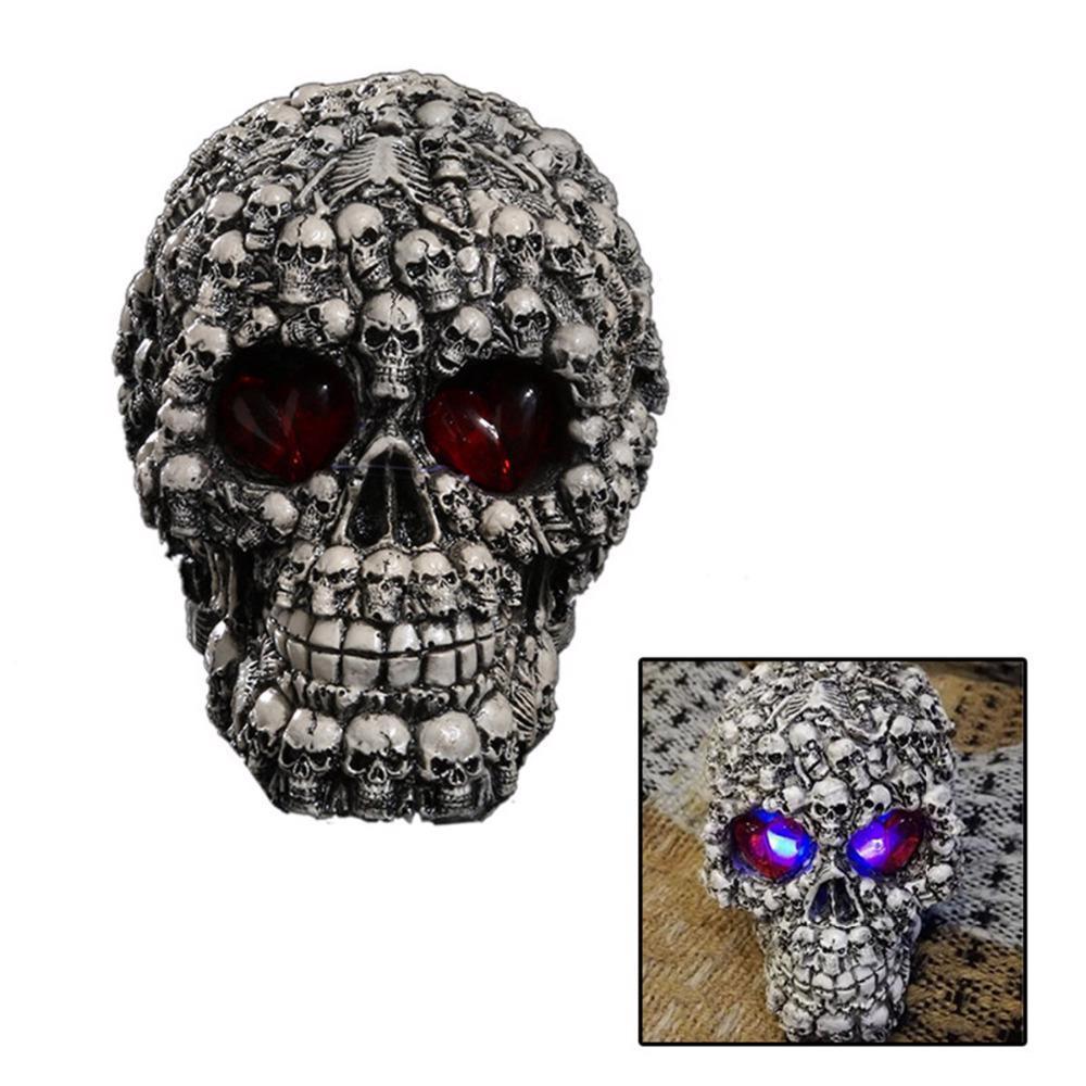 Resin LED Skull Head Statue Sculpture Halloween Human Shaped Table Desk Figurine