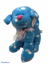 Fiesta Plush Standing Pup Dog 12 inches Tall Blue White Paws Stuffed Ani... - $17.95