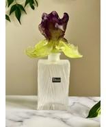 Large Daum Crystal Iris Perfume Bottle Rectangular $905 Retail Signed Mint - $493.02