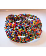 Bracelet Bangle Braided Multi Color Beads Beaded Cuff - $6.99