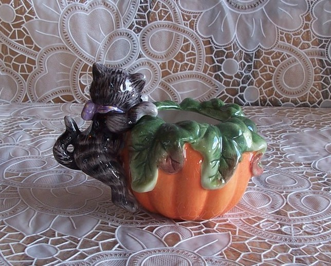 Fitz and Floyd Halloween Kitty Pumpkin Votive Candleholder NIB
