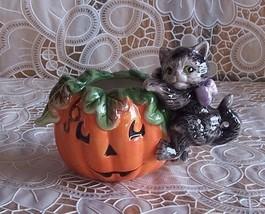 Fitz and Floyd Halloween Kitty Pumpkin Votive Candleholder NIB - €26,32 EUR