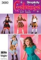 Simplicity 3680 Fairy Pirate Witch Cowgirl Girls 3 to 5 Sewing Pattern Uncut