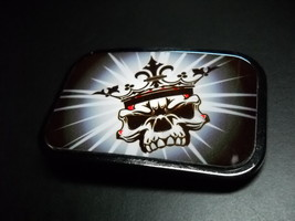 Buckle Down Belt Buckle Skull with Crown of Reds White and Gold - $13.99