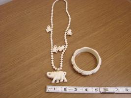Vintage Celluloid Elephant Bangle Bracelet with Matching Nec - $65.00