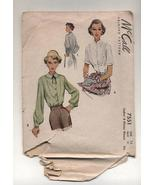 Vintage McCalls 1940s Ladies Misses Blouse Sewing Pattern Size 12 Bust 30  - $9.99