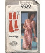 Vintage 1980 Easy Jiffy Sundress Simplicity 9522 Sewing Pattern Size 10 ... - $8.99