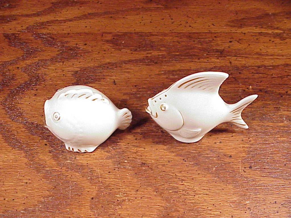 Pair of Ceramic White Fish Salt and Pepper Shakers
