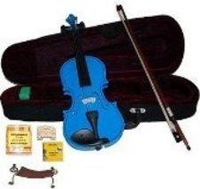 1/2 Size Blue Violin,Case,Bow,2 Sets String,Rosin,2 Bridges,Tuner,Shoulder Rest - $45.00