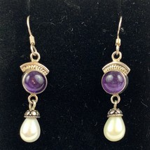 Vintage Sterling Silver 925 Amethyst Freshwater Pearls Dangling Pierced ... - $31.77