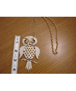 Large Owl Necklace - Goldtone and white with light orange cr - $32.00