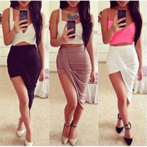 Sexy Hi Low Asymmetrical High Waist Skirt - $19.00