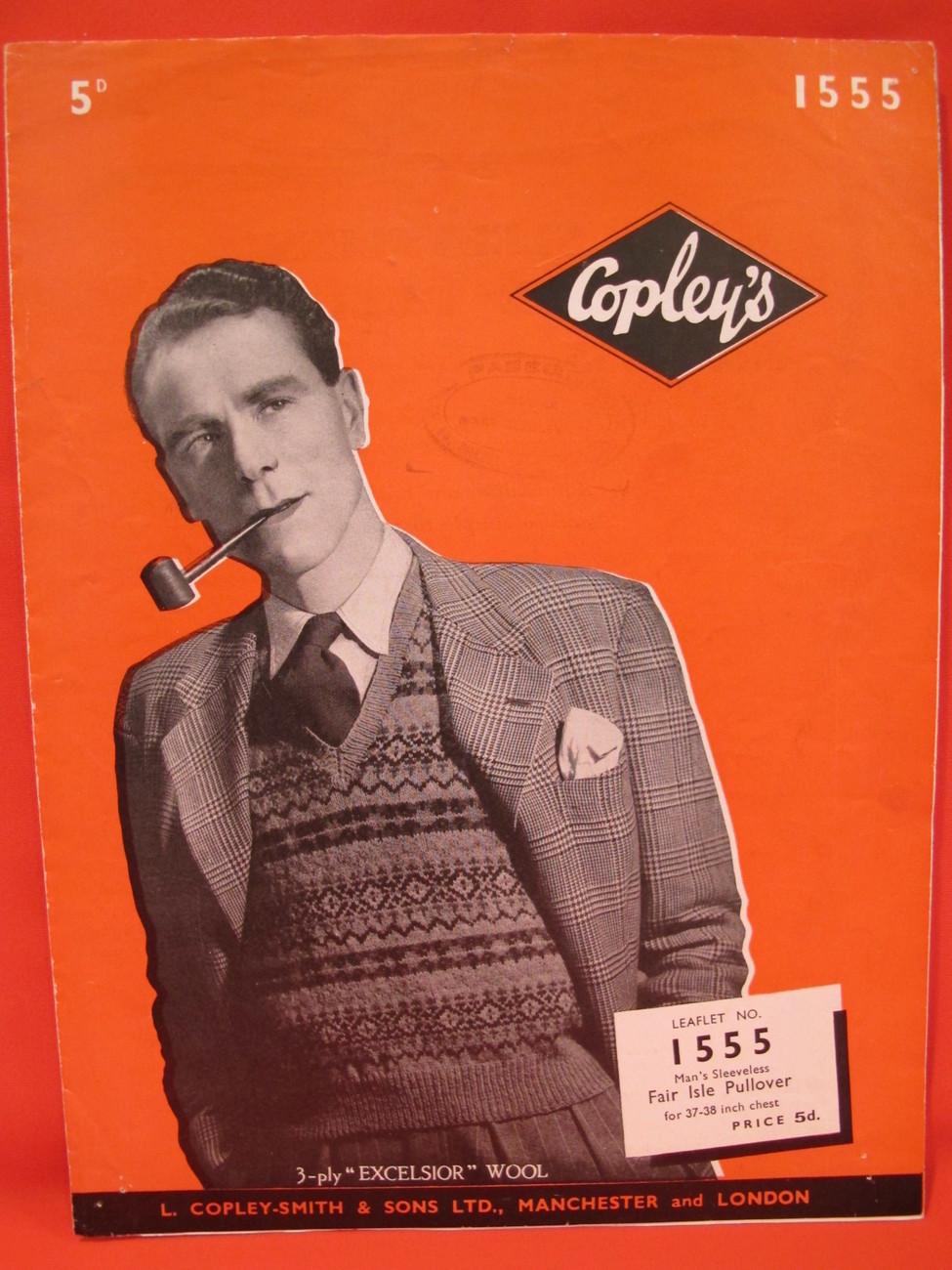 "Vintage Copleys Knitting Patterns MENS Fair Isle Pullover Vest 38"" Chest"