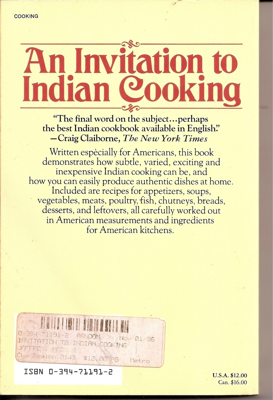 An Invitation to Indian Cooking Cookbook Madhur Jaffery