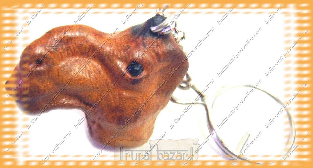 Exclusive Hand Crafted Leather Camel Face New Key Chain