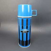 King Seeley Thermos Blue Black Stripe Metal 1971 Vintage Canada USA Made - $39.99