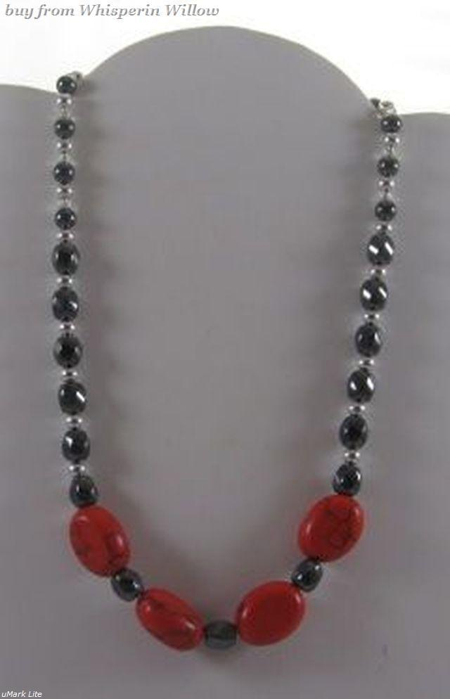 Magnetic Hematite and Red Stone with Silver Necklace